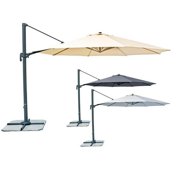 derby Pendelschirm, mit Schirmständer und Kurbel, schrägstellbar, 400 x 291 x 428 cm,