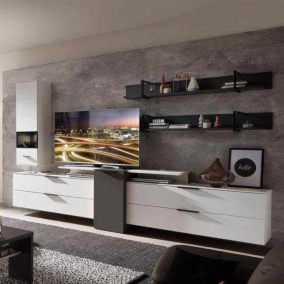 Design Anbauwand in Weiß und Dunkelgrau LED Beleuchtung (6-teilig)