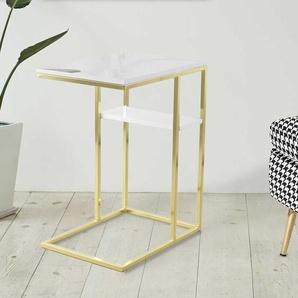 Design Anstelltisch in Weiß Hochglanz und Goldfarben Bügelgestell