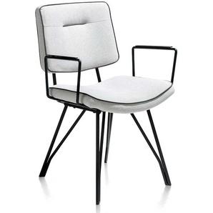 Design Armlehnenstuhl in Hellgrau und Schwarz modern