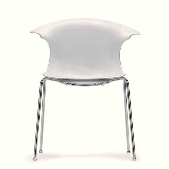 Design Armlehnenstuhl Wei� Hochglanz in modern (2er Set)
