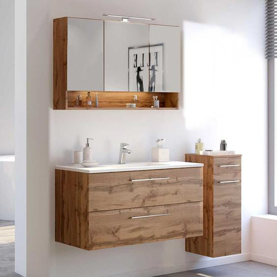 Design Badezimmer Möbel in Wildeiche Optik LED Beleuchtung (3-teilig)