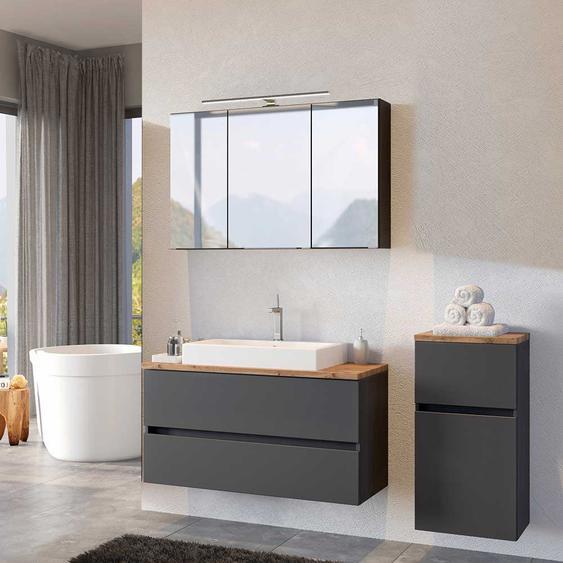 Design Badezimmer Set in Dunkelgrau und Wildeiche Optik 140 cm breit (3-teilig)