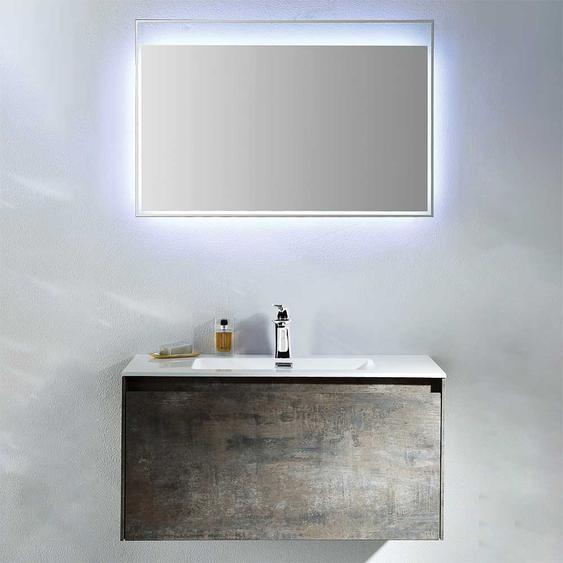 Design Badezimmer Set in Eiche Grau Optik LED Beleuchtung (2-teilig)