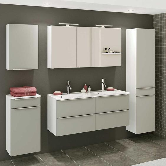 Design Badezimmer Set in Grau und Weiß Doppelwaschtisch (5-teilig)