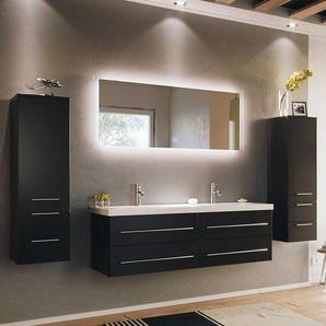 Design Badezimmer Set in Schwarz Doppelwaschtisch (vierteilig)