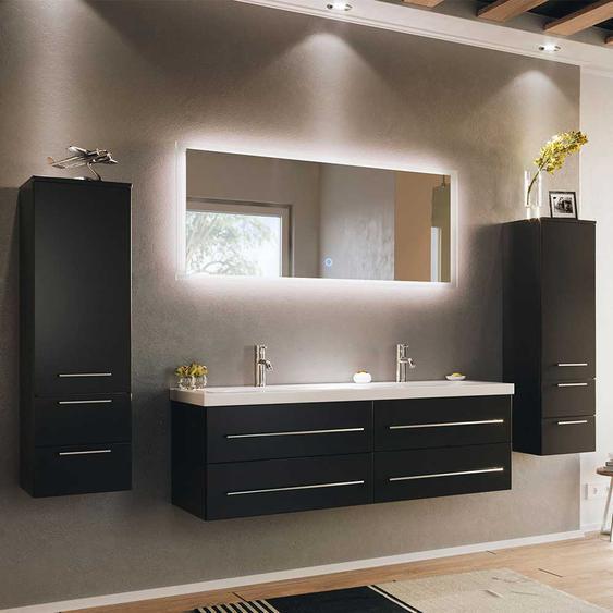 Design Badezimmer Set in Schwarz Doppelwaschtisch (4-teilig)