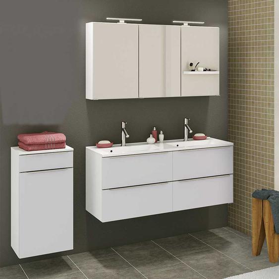 Design Badezimmer Set in Weiß Doppelwaschtisch (3-teilig)