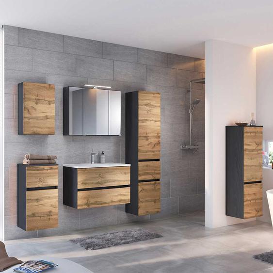 Design Badezimmer Set in Wildeichefarben Anthrazit (6-teilig)
