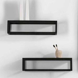 Design Badezimmer Wandregal Set in Schwarz Aluminium (2er Set)