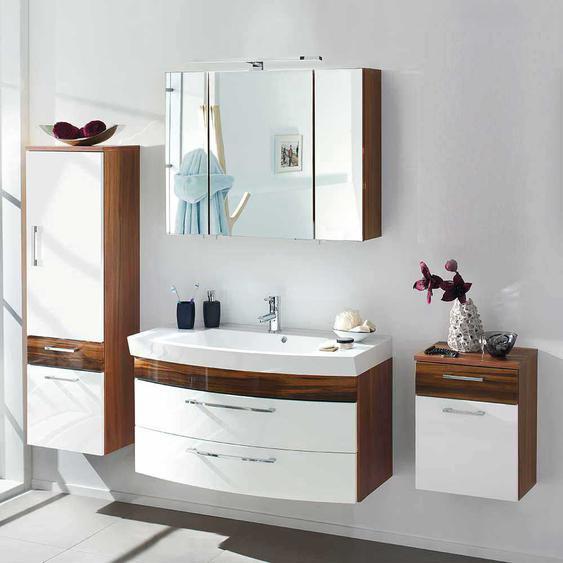 Design Badm�bel Set in Wei� Hochglanz Walnuss h�ngend (4-teilig)