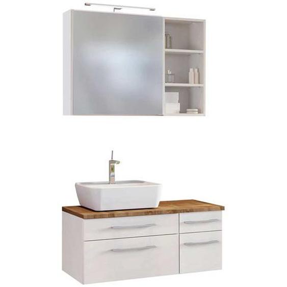 Design Badmöbel Set in Weiß und Wildeiche Dekor LED Beleuchtung (3-teilig)