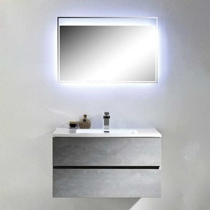Design Badm�bel Kombination im Beton Grau Dekor LED Beleuchtung (2-teilig)