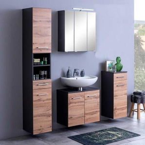 Design Badm�bel Set in Wildeiche Optik und Dunkelgrau modern (4-teilig)