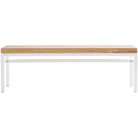 Design-Bank BOHO aus Mangoholz und weißem Metall 140 cm