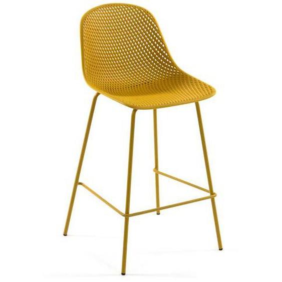 Design Barhocker in Gelb Metall und Kunststoff (4er Set)
