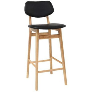 Design-Barhocker / -stuhl Schwarz und Holz Naturfarben 65 cm NORDECO