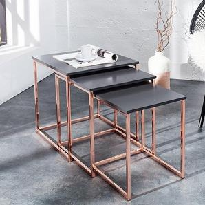 Design Beistelltisch 3er Set FUSION 40cm anthrazit kupfer