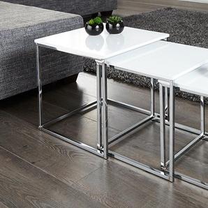 Design Beistelltisch 3er Set FUSION Hochglanz weiß chrom