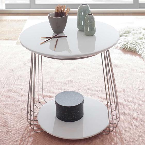 Design Beistelltisch in Weiß Draht-Gestell