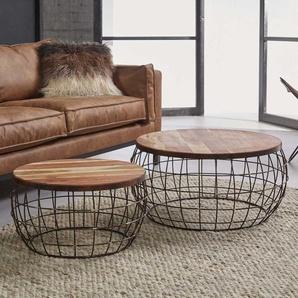 Design Beistelltisch Set aus Mangobaum Massivholz Metall Kupferfarben (2-teilig)