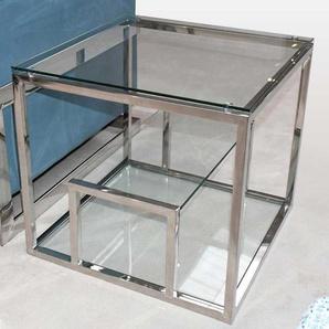 Design Couchtisch aus Glas und Edelstahl Chromfarben