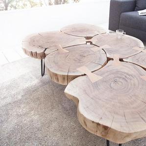 Design Couchtisch GOA 110cm Akazie Baumstamm Scheiben 4cm Tischplatte
