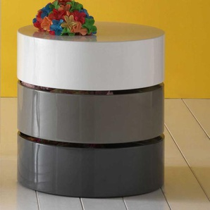 Design Couchtisch in Grau Weiß Hochglanz schwenkbar