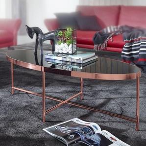 Design Couchtisch Oval 110 x 56 cm Spiegel Glas | Wohnzimmertisch mit Metallgestell in Kupfer | Glastisch Wohnzimmer