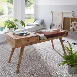 Design Dielenbank aus Mangobaum Massivholz Kuhfellbezug