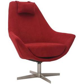 Design-Drehsessel aus Stoff Rot und Metallgestell AMADEO