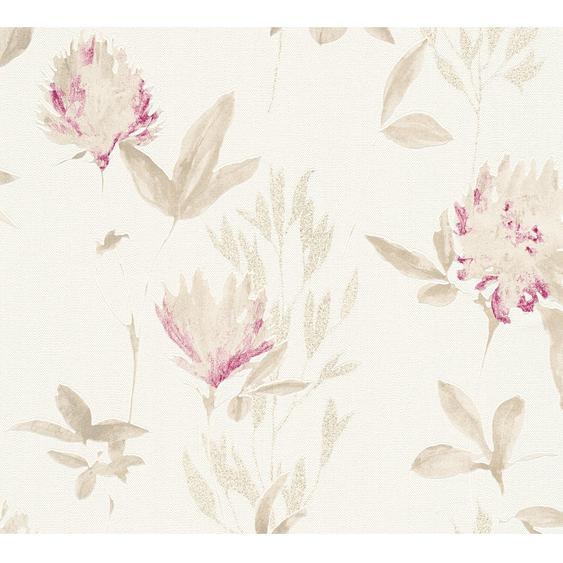 Design Dschungel Vliestapete Blumen Pink-Gold