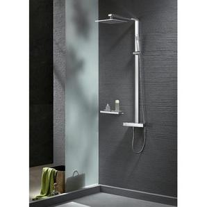 Design Duschsäule NT6705C mit Thermostat inkl. Duschschlauch und Handbrause - Auswahl Duschkopf eckig 25x25cm - BERNSTEIN