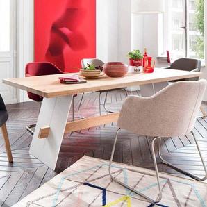 Design Esstisch aus Eiche Massivholz Wei� Metall