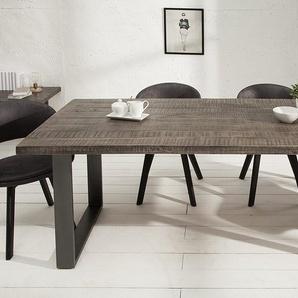 Design Esstisch IRON CRAFT 160cm Mangoholz grau Eisen Industrial Design