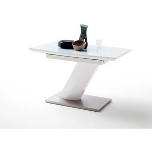 Design Esstisch mit S�ulengestell Wei� Hochglanz