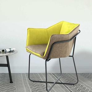 Design Esstischsessel in Taupe und Gelb modern
