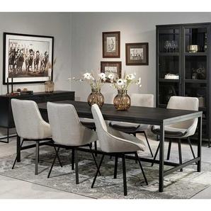 Design Esszimmereinrichtung in Schwarz und Beige sechs Sitzplätzen (siebenteilig)