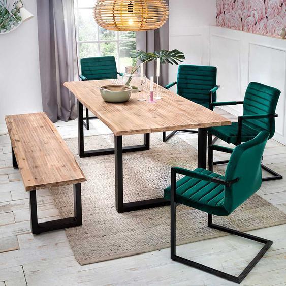 Design Esszimmergruppe aus Akazie White Wash massiv Dunkelgrün Samt (6-teilig)