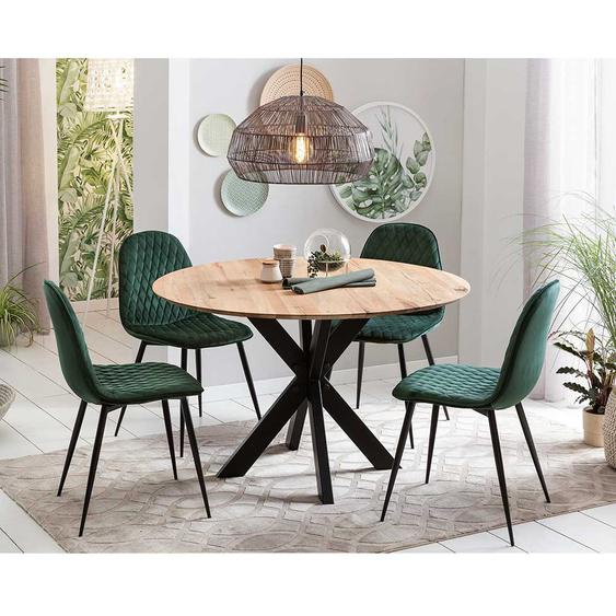Design Esszimmergruppe mit rundem Tisch dunkelgrünen Polsterstühlen (5-teilig)
