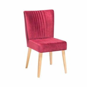 Design Esszimmerstuhl in Pink Stoff Retro modern