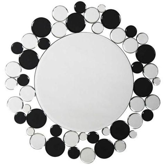Design Flurspiegel in Schwarz und Silberfarben rund