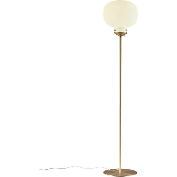 design for the people Stehlampe RAITO, E27, Opal Glas, Messing Applikationen 1 flg., Ø 30 cm Höhe: 150 weiß Standleuchten Stehleuchten Lampen Leuchten