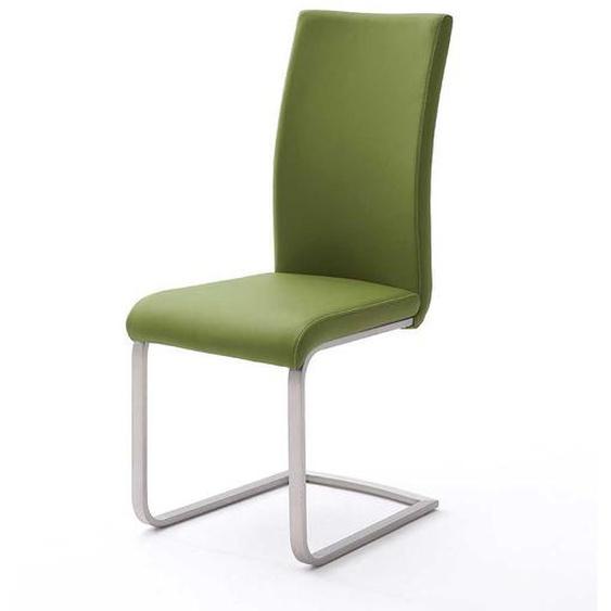 Design Freischwinger in Grün Kunstleder Edelstahl (4er Set)