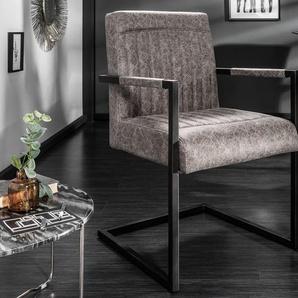 Design Freischwinger Stuhl BIG GEORGE vintage grau mit Federkern und Armlehne
