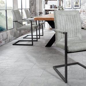 Design Freischwinger Stuhl BRISTOL stone grau mit Armlehne Industrial Stil