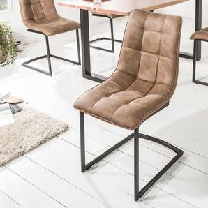 Design Freischwinger Stuhl MIAMI taupe braun Metallgestell matt schwarz