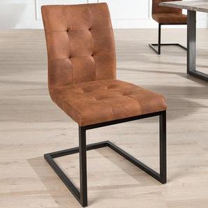Design Freischwinger Stuhl OXFORD vintage braun Gestell Eisen