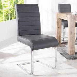 Design Freischwinger Stuhl STUART grau Flachstahl