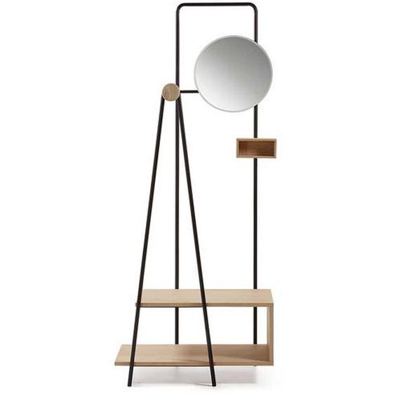 Design Garderobe im Skandi Style rundem Spiegel